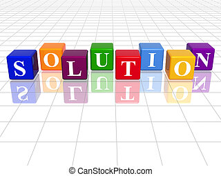 colour solution - 3d colour cubes with text - solution,...