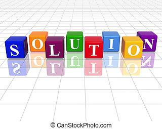 colour solution - 3d colour cubes with text - solution, word...