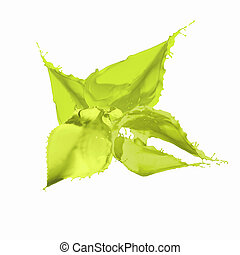 Bright green colour paint splash on white background