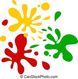 Colour Splats - Three splatterings of different coloured ink...