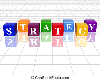 colour strategy - 3d colour cubes with text - strategy, word...