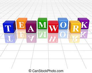 colour teamwork - 3d colour cubes with text - teamwork, word...