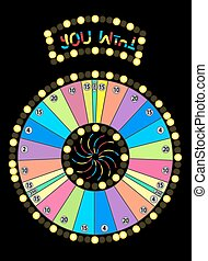 Colour Wheel of Fortune, Game Jackpot on Black Background. Vector Illustration.