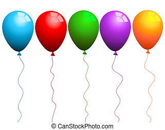 Brighly coloured balloons