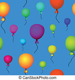 coloured balloons flying in blue sky seamless