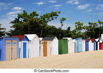 Coloured Beach huts under the sunlight I