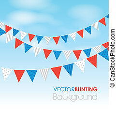 bunting on a sky background