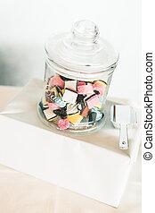 Coloured Candy Glass Jar on Sweet Bar Table