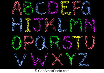 Handwritten letters of the alphabet written on a blackboard then cleaned up during editing, coloured and placed on a black background.