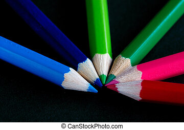 coloured crayons