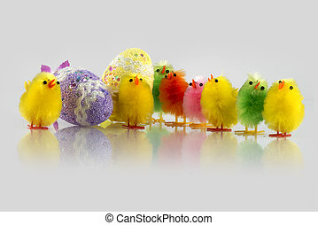 Coloured Easter chick and two eggs decorated in a light grey background
