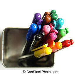 Coloured felt tip pen markers