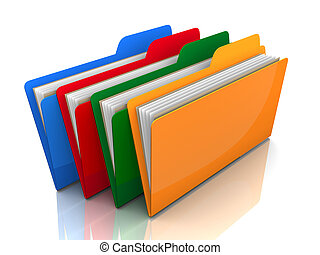 coloured folders isolated 3d illustration
