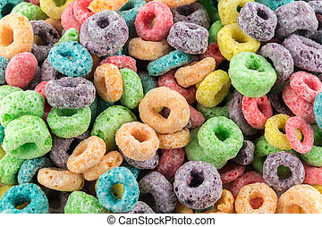 Coloured Fruit Loop cereal - Coloured Fruit Loop breakfast...