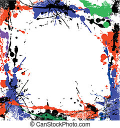 coloured grunge art frame of blots and stains