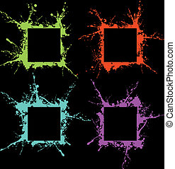 grunge art frame - coloured grunge art frame of blots and...