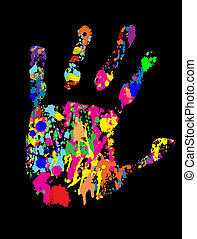 coloured hand print with ink splats, vector illustrations