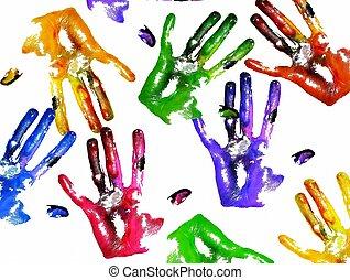 Coloured handprints