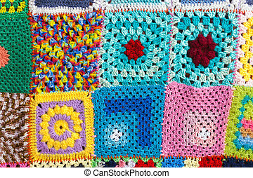 Coloured knitted carpet textile background