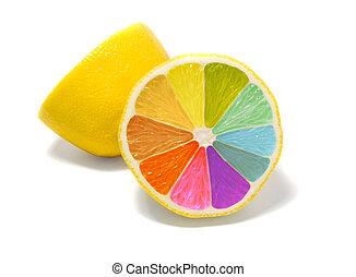 Coloured lemon on white background - creative design