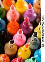 Coloured Markers - Close up view of the tip of many coloured...
