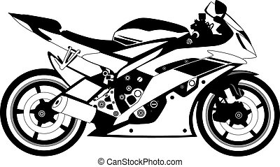 coloured motorcycle in the vector depicted on a white background