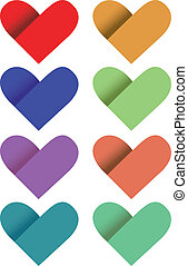 Coloured Paper Hearts Vector Illustration