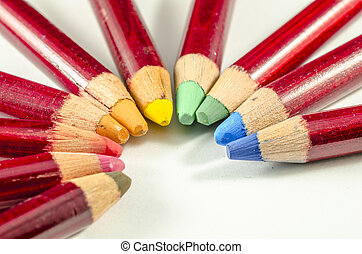 coloured pencil grouped together - view of coloured pencil...
