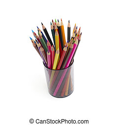 coloured pencil in glass isolated on white background