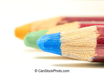 coloured pencil in line - close up of coloured pencil. blue...