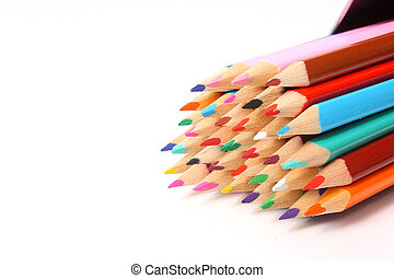 Coloured Pencil tips - Close up view of coloured pencil tips