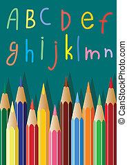 coloured pencils and alphabet lette - vector coloured...