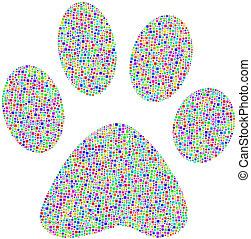 Coloured pet footprint - Pet footprint in a mosaic of...