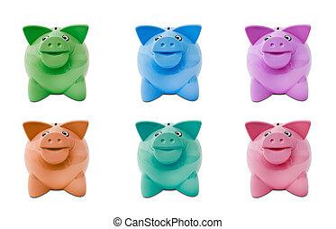 coloured piggy banks