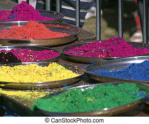 Coloured vegetable dye used in the indian spring festival of Holi Mahotsav, also known as the Festival of Colour