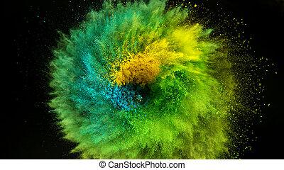Coloured powder explosion on black background