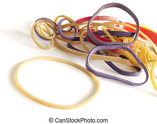Coloured rubber bands - Rubber bands isolated on white...