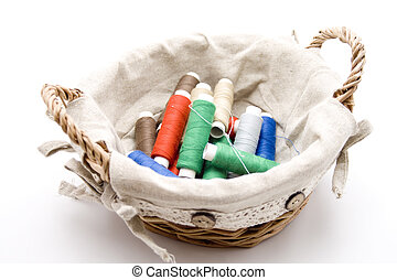 Coloured sewing cotton