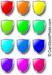 Set of coloured shields. Available in jpeg and eps8 formats.