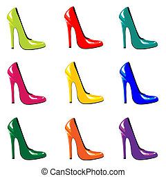 Coloured shoes - A vector illustration of bright, high-heel...