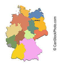 map of Germany with regions - Coloured silhouette of the map...
