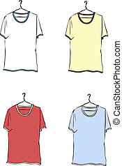 Coloured T-shirts on hangers Vector