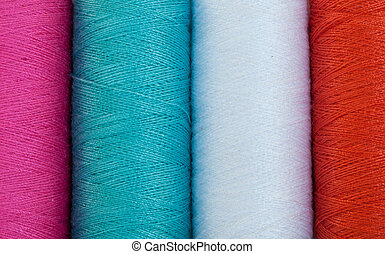 coloured thread. - Close up of coloured thread background ....