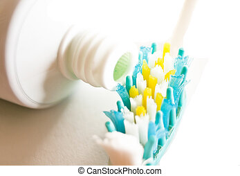 tooth brush - coloured tooth brush and tube toothpaste