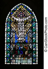 Coloured Window - A stained glass window in the famously old...