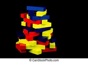 Coloured Wooden Blocks on Black Background