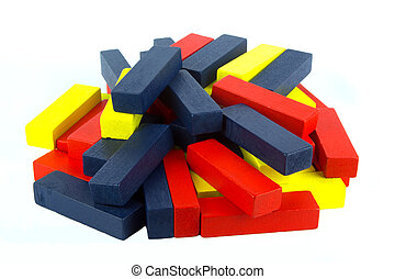 Coloured Wooden Blocks on White Background