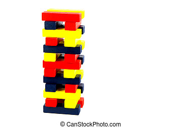 Coloured Wooden Blocks Stacked Against a White Background