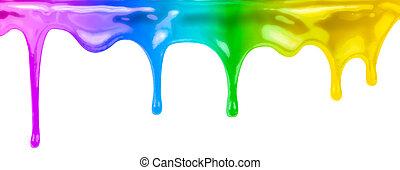colourful, краски, капающий, isolated, на, белый