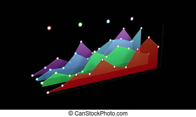 Colourful 3d graph on black background